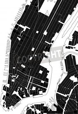 Sticker New York black white city plan - street texture