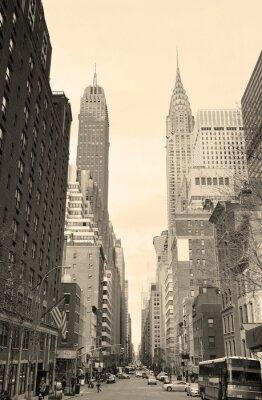 Sticker New York City Manhattan street view black and white