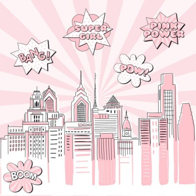 Sticker New York city scape on Retro sun ray background with pop art comic fight supergirl power text bubbles . Hand drawn vector doodle graphics. Pink and black colours. Perfect for girlish design.