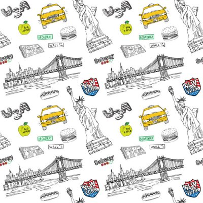 Sticker New York city seamless pattern with Hand drawn sketch taxi, hotdog, burger, statue of liberty, newspaper, manhatan bridge. Drawing doodle vector illustration, isolated on white