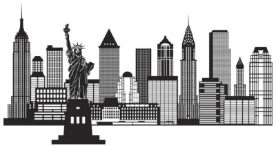 Sticker New York City Skyline Black and White Illustration Vector