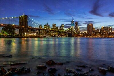 Sticker New York City Sunset Landscape with Brooklyn Bridge, USA
