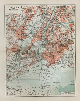 Sticker New York old map from the end of 19th century