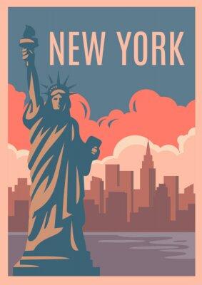Sticker New York Retro Poster.