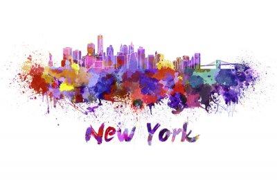 Sticker New York skyline in watercolor