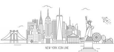 Sticker New York skyline line art style
