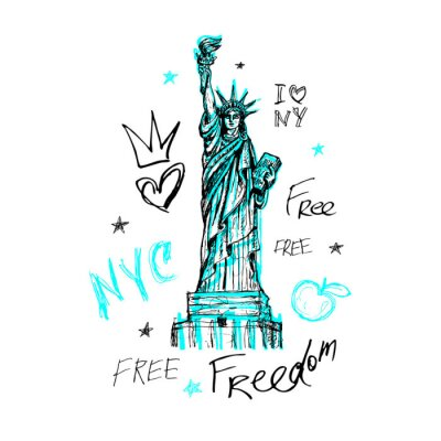 Sticker New York, t shirt design, poster, print, statue of liberty lettering, map, tee shirt graphics, trendy, dry brush stroke, marker, color pen, ink, watercolor. Hand drawn vector illustration.