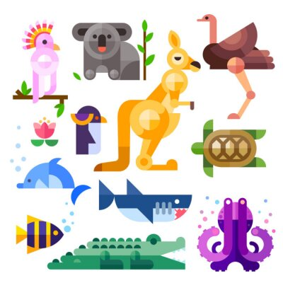 Sticker Nice flat Australian animals: kakadu, kangaroo, parrot, koala, emu, ostrich, dolphin, penguin, turtle, shark, clown fish, crocodile, octopus. Flat vector illustration set.