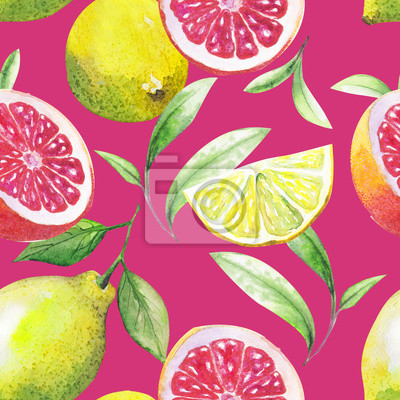 Sticker Nice handmade pattern of tea leafs and citrus fruits: lemon, grapefruit, orange, lime. Watercolor.