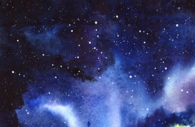Sticker Night starry sky. Hand drawn on a wet paper real watercolor Illustration.