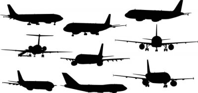 Sticker nine airplanes silhouettes isolated on white