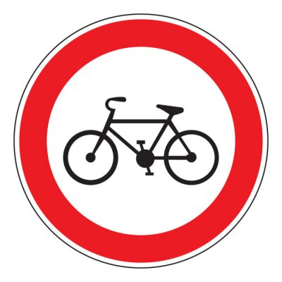 Sticker no bicycle allowed sign