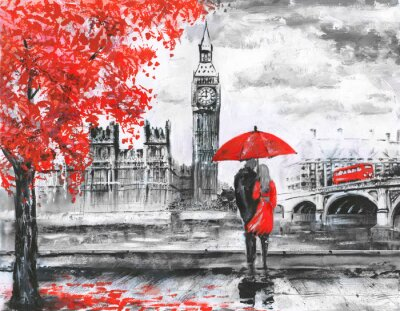 Sticker .oil painting on canvas, street view of london, river and bus on bridge. Artwork. Big ben. man and woman under a red umbrella