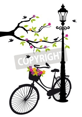 Sticker old bicycle with lamp, flowers and tree