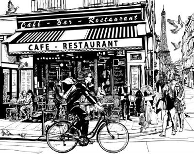 Sticker Old cafe in Paris