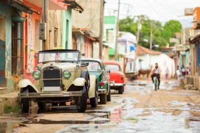 Sticker Old convertible car on street of Trinidad, Cuba