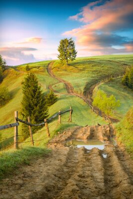 Sticker Old dirt road through the carpathian grassy rolling hills