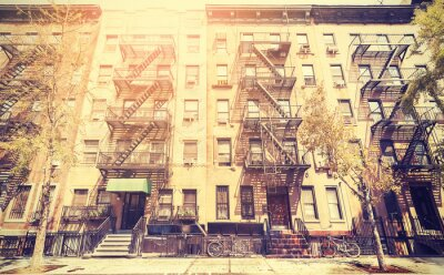 Sticker Old film retro style photo of New York street, USA.