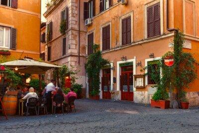 Sticker Old street in Trastevere in Rome, Italy