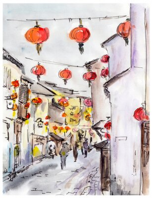 Sticker Old town street in China, traditional chinese red lanterns