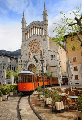 Sticker Old tram in front of the Cathedral of Soller, Mallorca, Spain