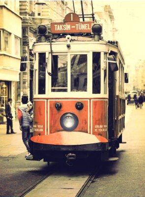 Sticker Old tramway on Istiklal street, Istanbul.