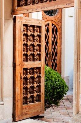 Sticker Old Wooden Door