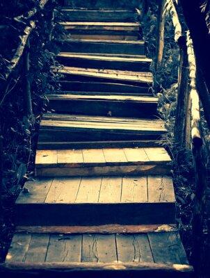 Sticker Old wooden stairs