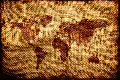 Sticker Old world map on hesian sack texture