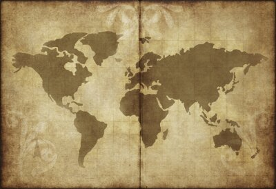 Sticker old world map parchment paper
