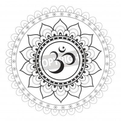 Sticker Om, Aum sanskrit symbol with mandala ornament