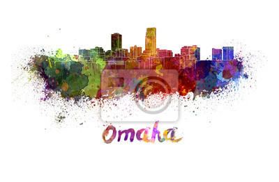 Sticker Omaha skyline in watercolor