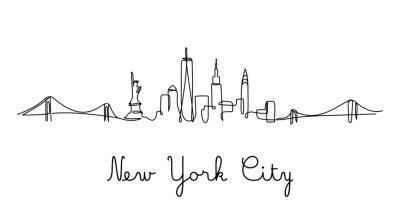 Sticker One line style New York City skyline. Simple modern minimaistic style vector.