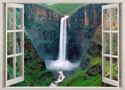 Sticker Open windoq panoramic vuew to Iguacu falls, Brazil