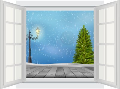 Sticker Open window of Christmas tree and lamp post on winter background