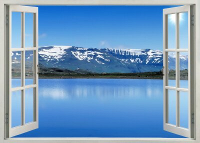 Sticker Open window panoramic view to snow mountains and lake