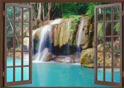Sticker Open window view to deep jungle waterfall