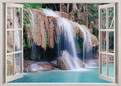 Sticker Open window view to Erawan Falls, Thailand
