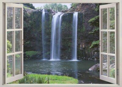 Sticker Open window view to Whangarei Falls, Northland Region (North Island), New Zealand