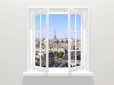 Sticker Opened window and view on Eiffel tower, Paris
