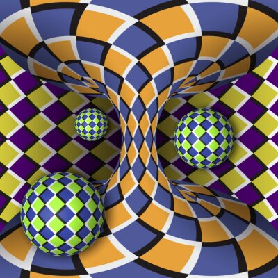 Sticker Optical illusion of rotation of three balls around of a moving hyperboloid. Abstract background.