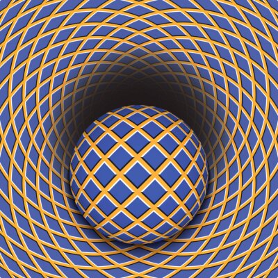 Sticker Optical illusion of the ball is rolling into a hole. Abstract background.