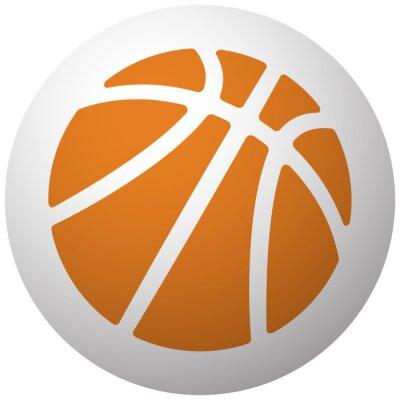 Sticker Orange Basketball icon on sphere isolated on white background