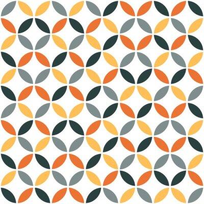 Sticker Orange Geometric Retro Seamless Pattern