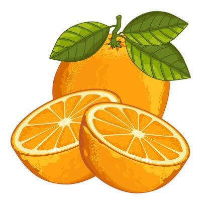 Sticker Orange Isolated on white background.