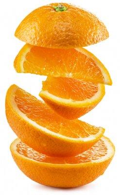 Sticker Orange slices on white background.