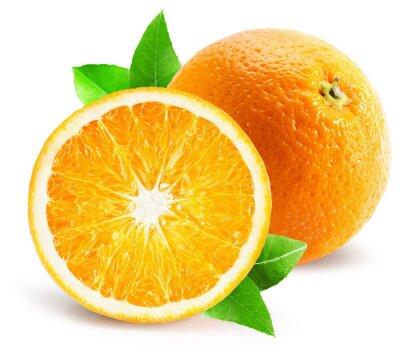 Sticker orange with half of orange isolated on the white background