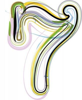 Sticker Organic Font illustration. Number 7