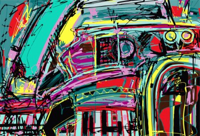 Sticker original digital painting of abstraction composition