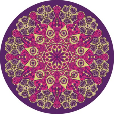 Sticker ornamental round lace pattern, circle background with many detai